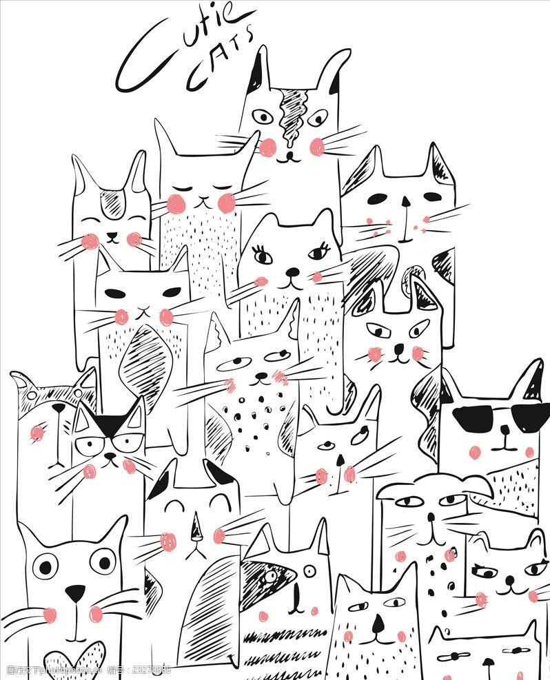 墨镜猫手绘卡通简笔画猫