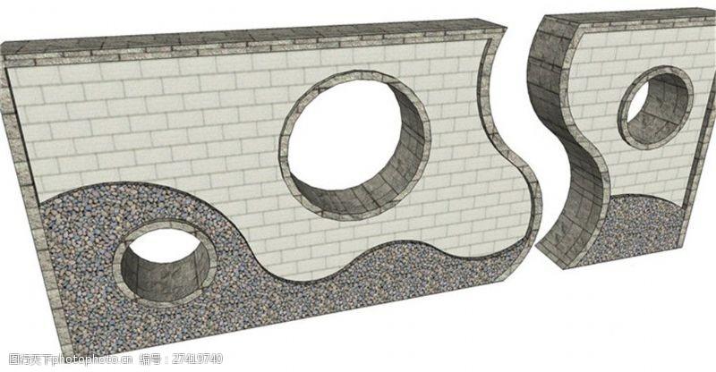 园林景观墙创意现代化景观墙SU草图大师skp模型