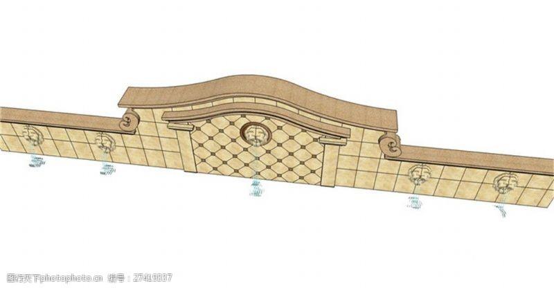 欧式景观墙大气现代化景观墙SU草图大师skp模型
