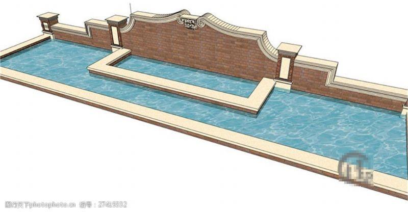 欧式景观墙大气现代景观墙SU草图大师skp模型