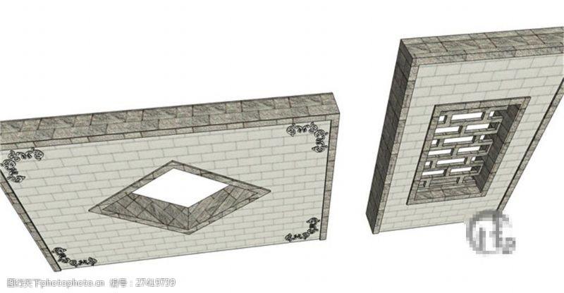 古典中式园林景观墙skp模型