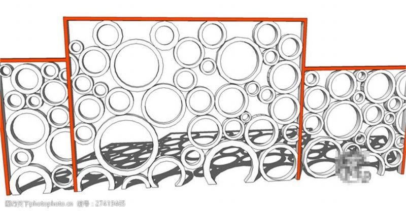 园林景观墙现代圆形景观墙skp模型