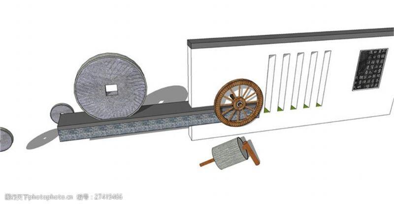 园林景观墙skp模型