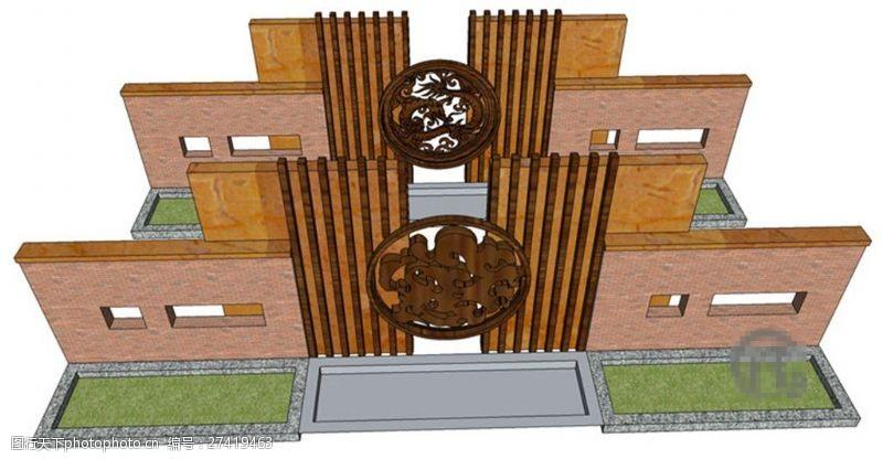 园林景观墙中式大气景观墙SU草图大师skp模型
