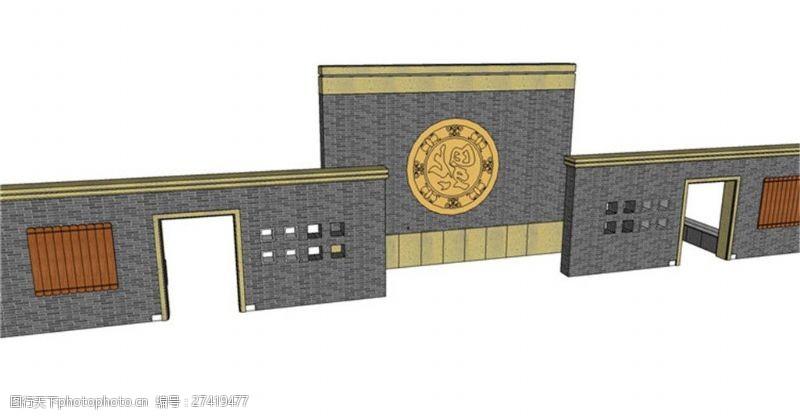 中式高档园林景观墙skp模型