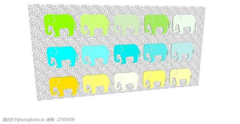 园林景观墙创意大象图形景观墙SU草图大师skp模型