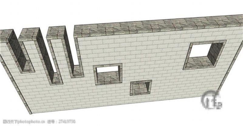 园林景观墙创意景观墙SU草图大师skp模型