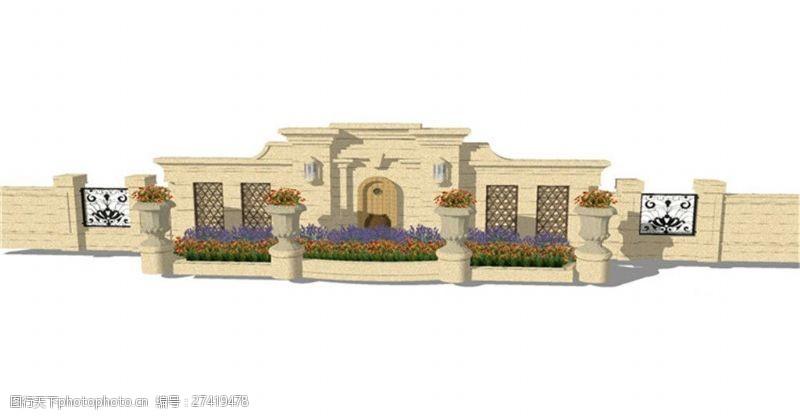 园林景观墙花坛景观墙SU草图大师skp模型