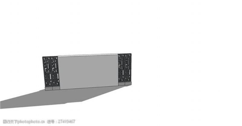 园林景观墙简约简单景观墙skp模型