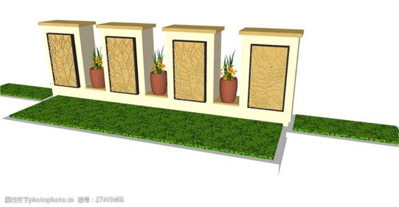 园林景观墙简约现代草坪景观墙skp模型
