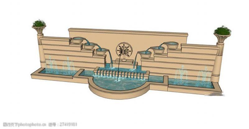 欧式景观墙园林欧式喷泉景观墙skp模型