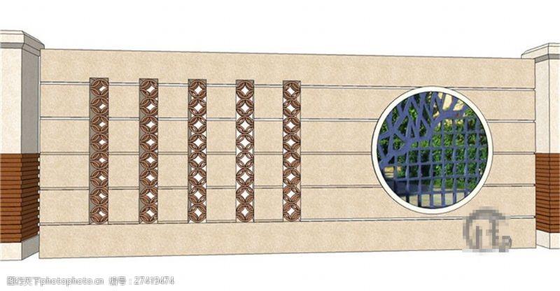 园林景观墙古典景观墙SU草图大师skp模型