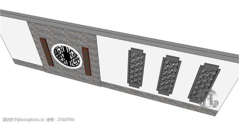 园林景观墙简约古典景观墙skp模型