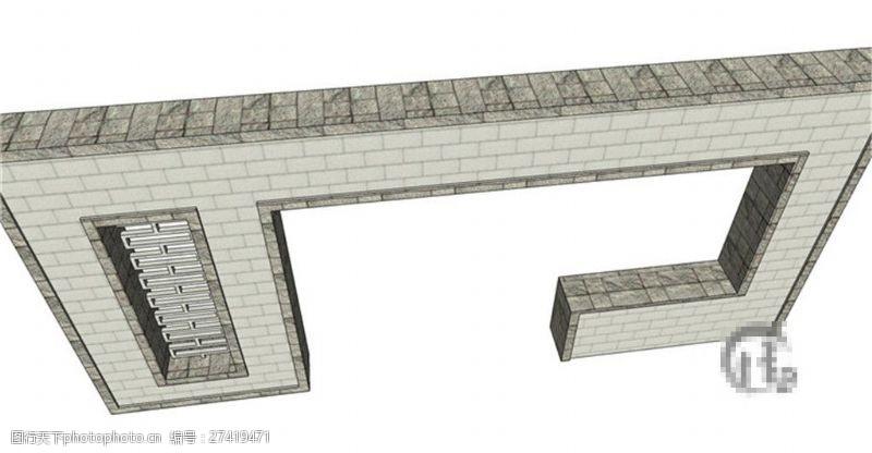园林景观墙简约几何景观墙skp模型