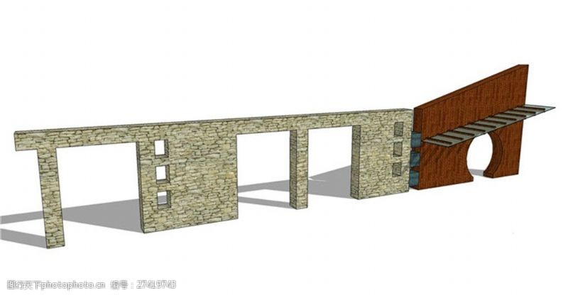 园林景观墙简约现代化景观墙skp模型