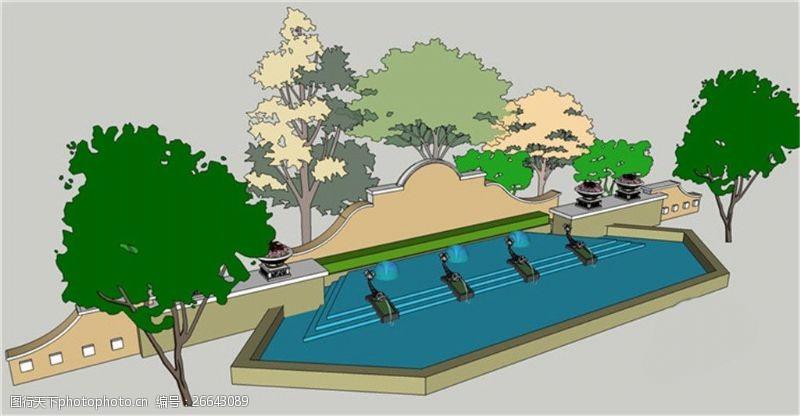 欧式景观墙景观墙园林效果图skp模型