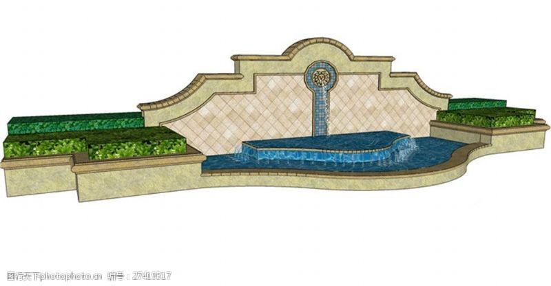 欧式景观墙欧式现代景观墙SU草图大师skp模型