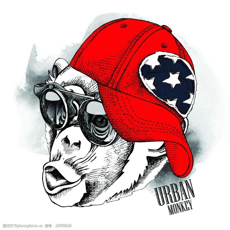 潮流墨镜插画头像猴子可爱动物圣诞节海报矢量