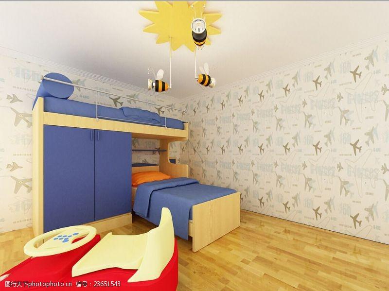 地产广告艺术儿童房效果图