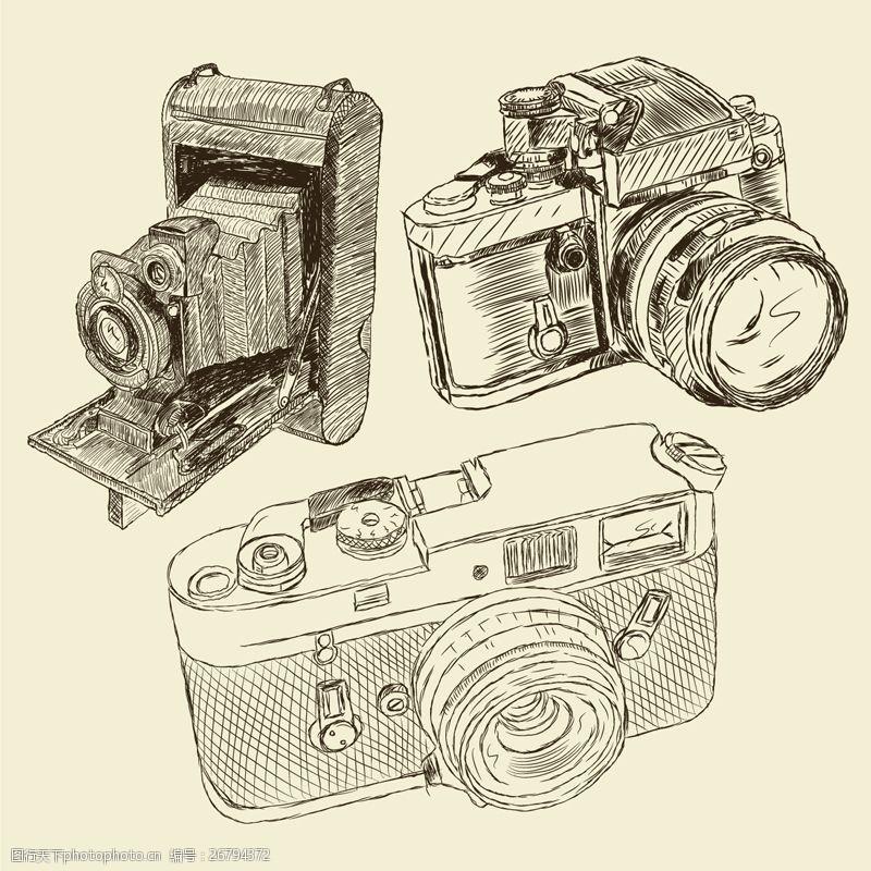 单反机3款手绘相机设计矢量