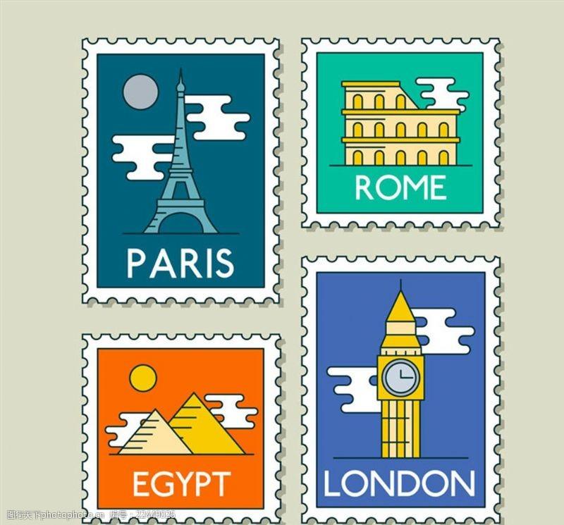 手绘水彩邮票邮票