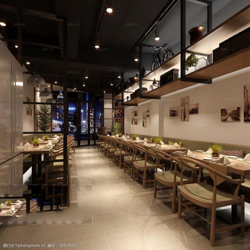 室内场景模型简约时尚餐厅模型下载