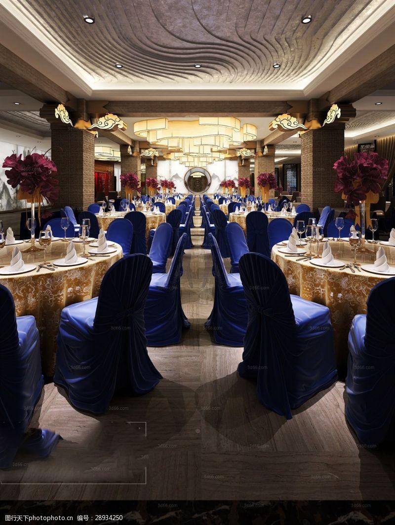 室内场景模型奢华餐厅模型下载
