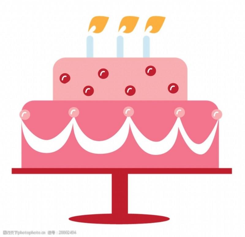 面料图库手绘生日蛋糕素材图片