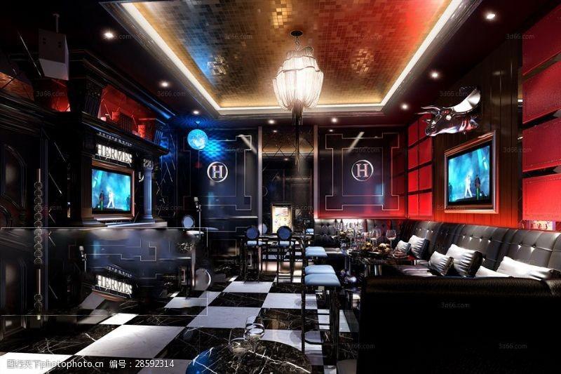 室内场景模型高端大气KTV娱乐会所模型下载