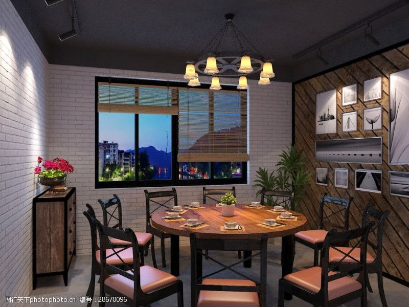 max格式室内设计工业风包厢圆桌MAX格式