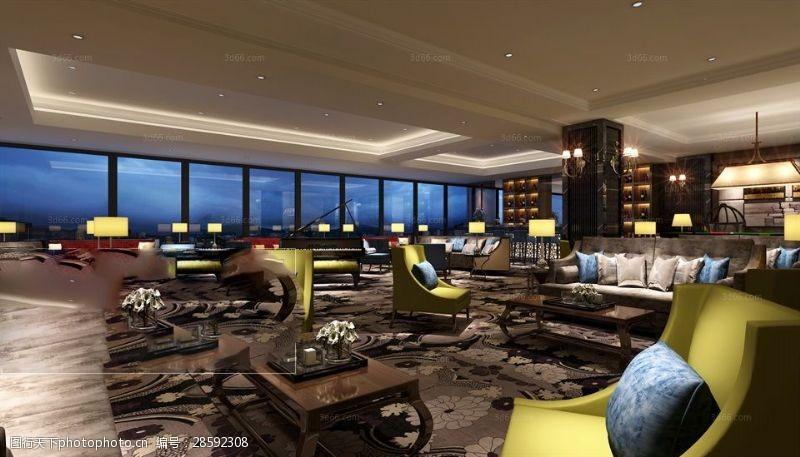 室内场景模型后现代风格休闲娱乐场所模型下载