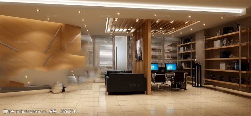 室内场景模型现代风格办公会议室模型下载