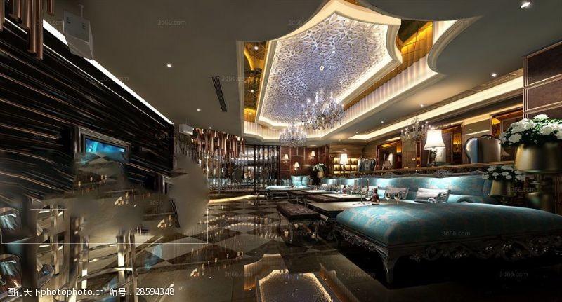 室内场景模型个性奢华娱乐场所效果图