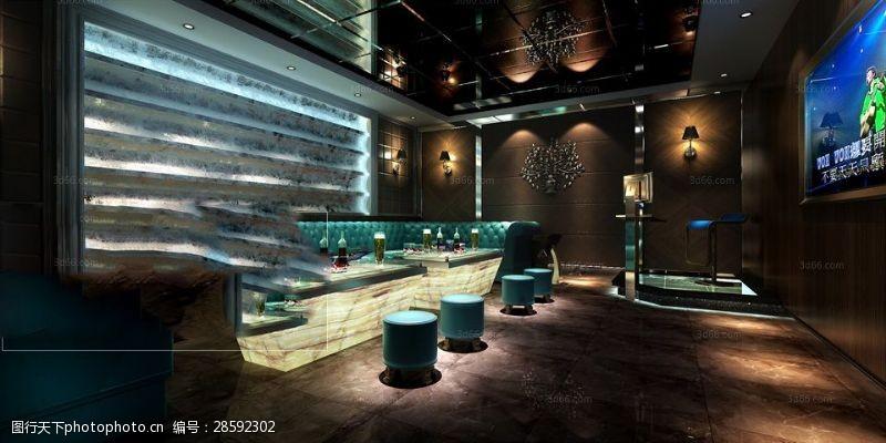 室内场景模型高端大气风格KTV娱乐会所模型下载