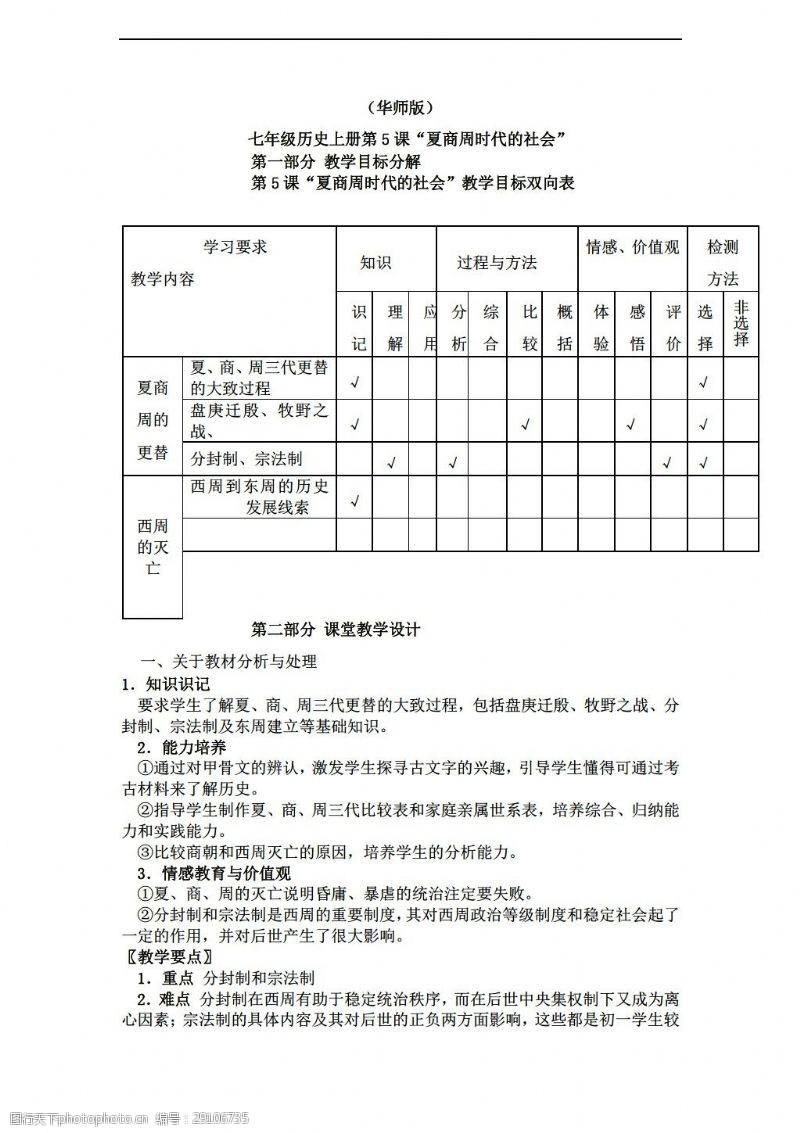 [七年级上册历史]七年级上册教案:5夏商周时代的社会