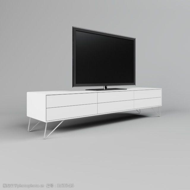 白色电视柜3d模型下载