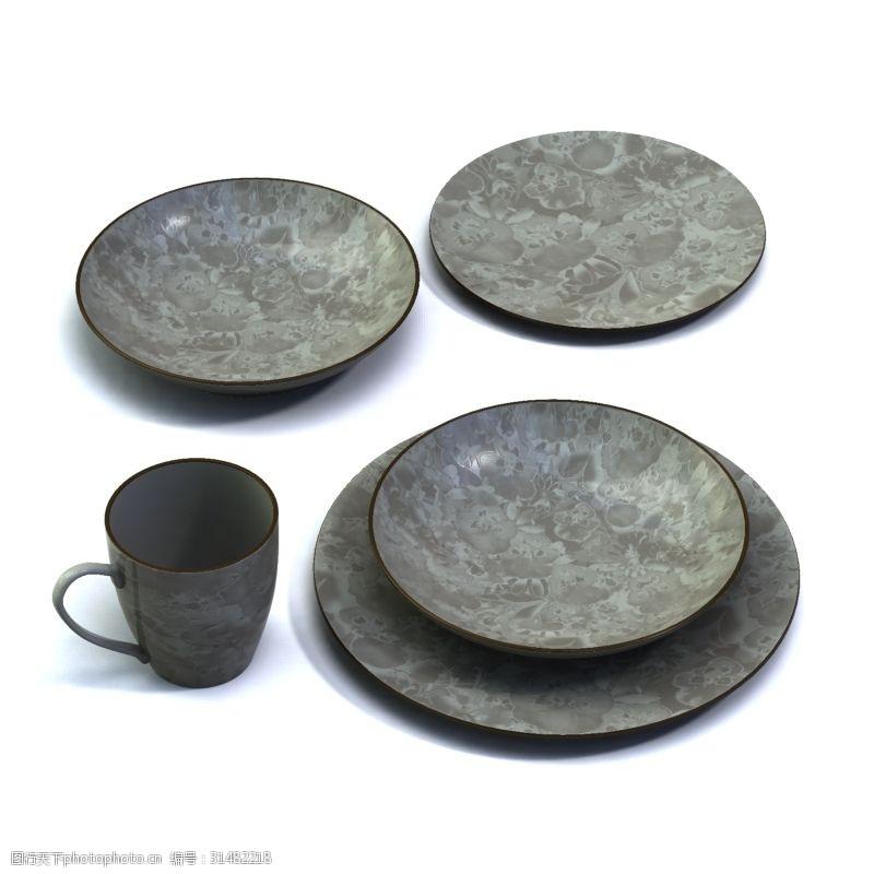 3d设计源文件茶杯餐碟模型3d模型