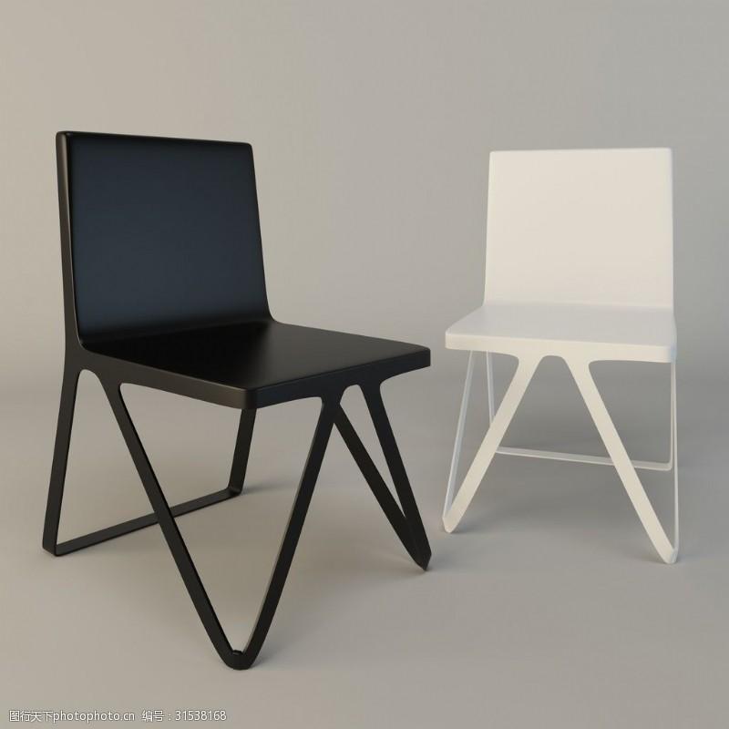 黑白色椅子3d模型下载