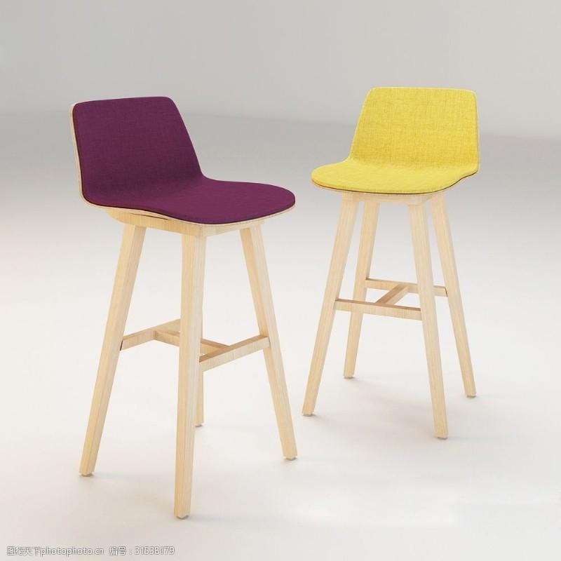 黄色布艺实木脚椅子3d模型下载