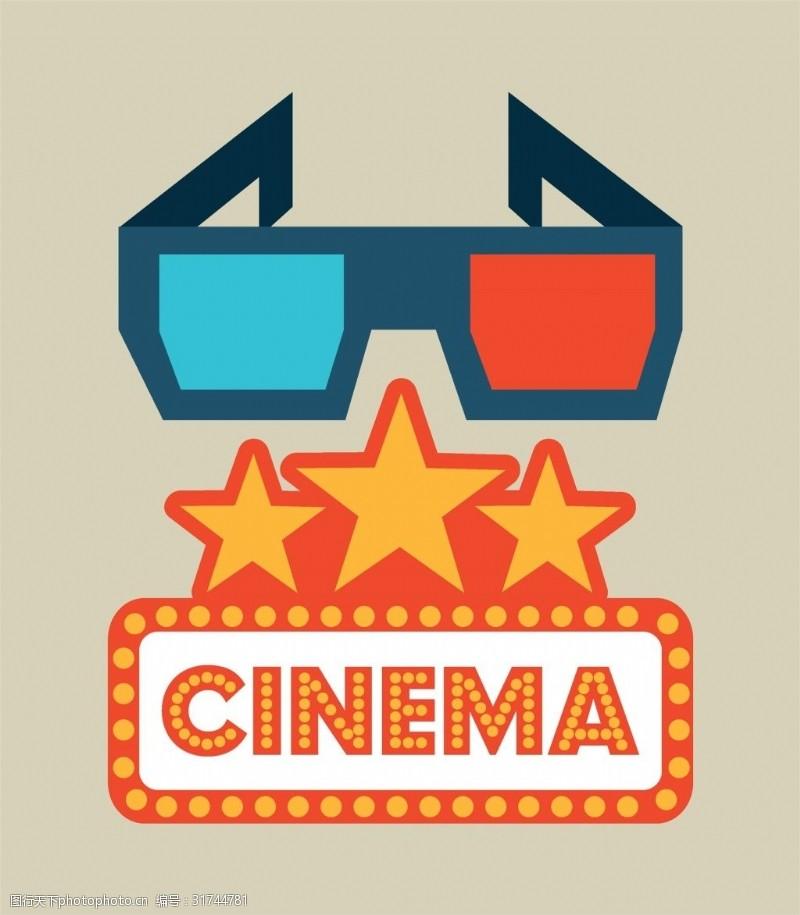 电影素材卡通电影3d眼镜素材矢量素材