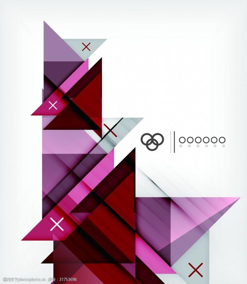 设计图案素材炫彩红色几何背景矢量素材