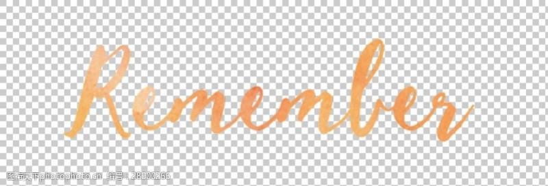 橙色英文记住图标免抠png透明图层素材