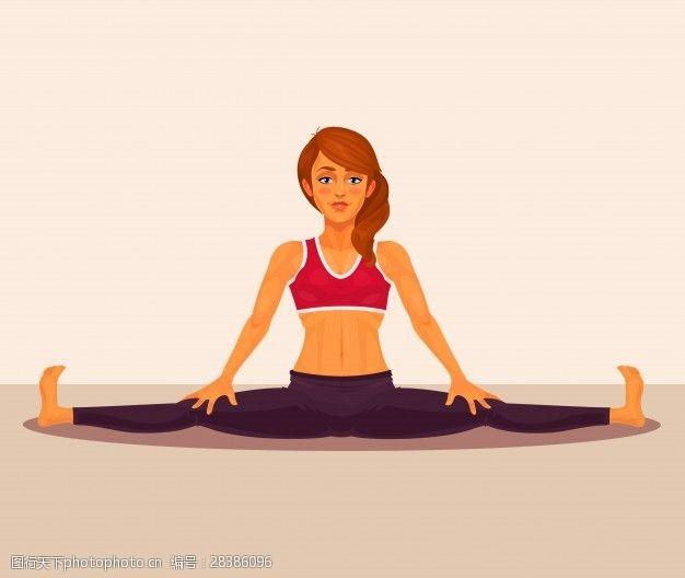 健身体操瑜伽的女孩做分裂矢量插图。