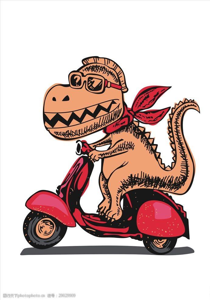 小龟王卡通恐龙骑摩托车矢量图下载