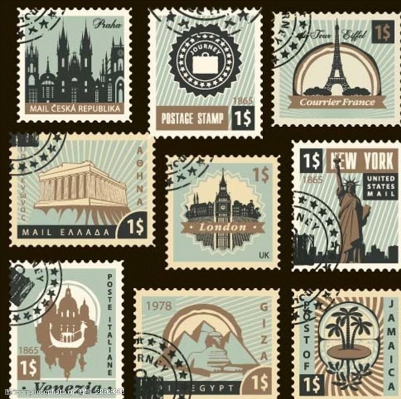 复古邮戳邮票