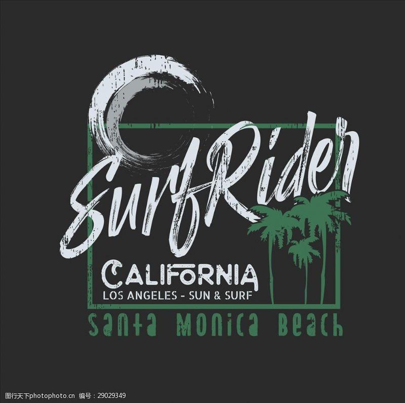 冲浪者加利福尼亚冲浪标签矢量图下载