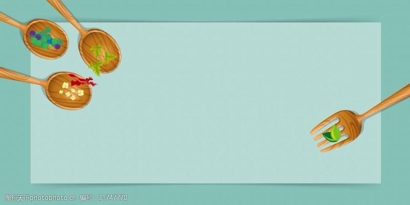 健康食品海报矢量扁平化美食餐饮背景